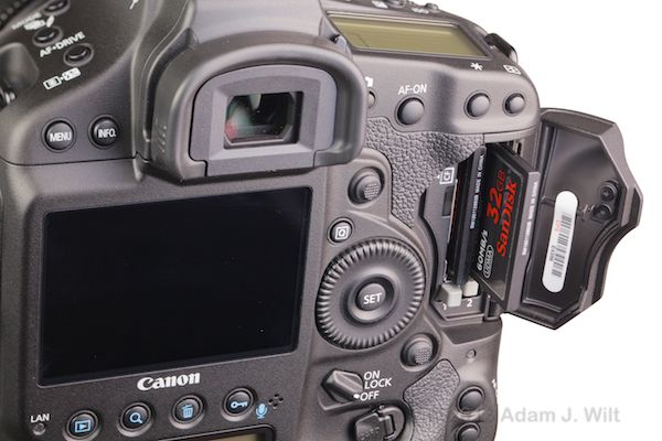 The CF card slots in the Canon 1D C
