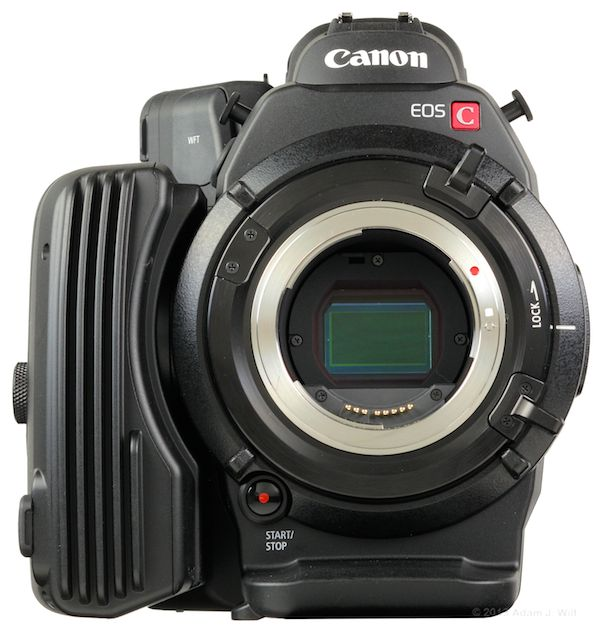 C500 EF business end, cap off, powered on to reveal its Super35mm-sized sensor.