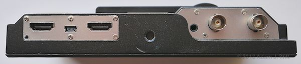 Bottom view of D7w, screen down.