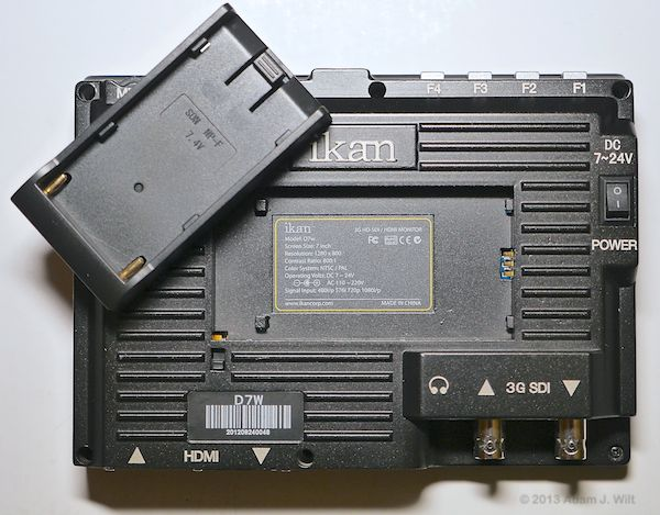 Rear view of D7w with battery plate removed.